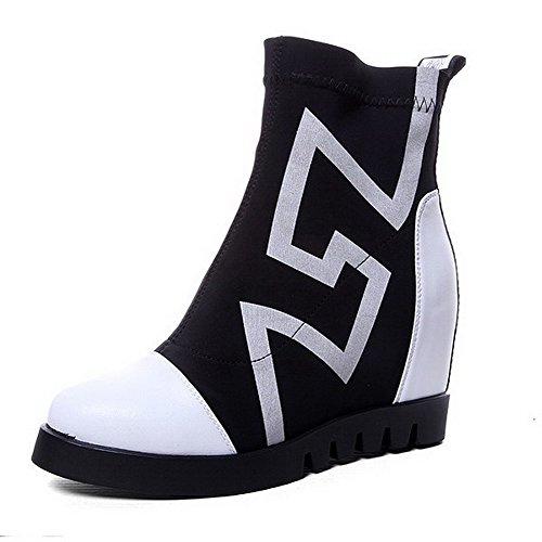 WeenFashion Women's Elastic Fabric High-Heels Platform Round-Toe Boots with Thread and Platform High-Heels B016HU2MQG Parent e2f9ce