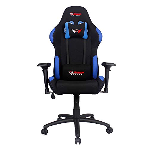 - GT Omega PRO Racing Fabric Gaming Chair with Lumbar Support - Breathable & Ergonomic Office Chair with 4D Adjustable Armrest & Recliner - Esport Seat for Ultimate Gaming Experience - Black Next Blue
