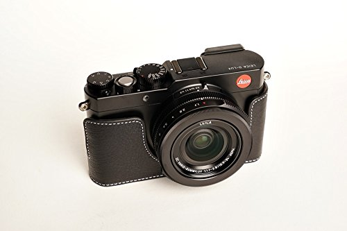 Black Handmade Genuine Camera Half Leather Case Bag Cover for Leica D-LUX (Typ109)