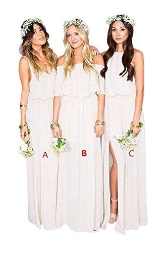 Long A Gowns Prom B Evening Line s Dress Bridesmaid Ivory Women Simple Chiffon qE0wxB