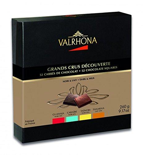 Valrhona Dark & Milk Gourmet Chocolates, Guanaja, Caraibe, Tainori & Tanariva, 52 squares 9.2oz