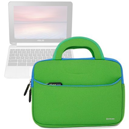 Evecase ASUS Chromebook Flip C100PA 10.1 Inch Touch Chromebook Sleeve Case, Neoprene Slim Briefcase w/ Handle & Accessory Pocket / Ultra Portable Carrying Case Portfolio Pouch Cover - Green