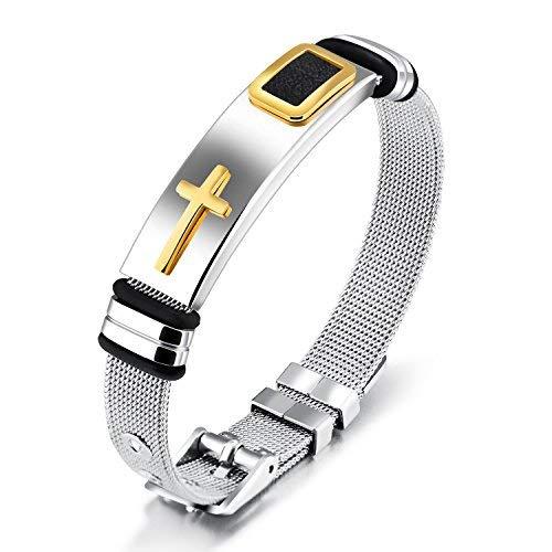 Elelife Easter Present Stainless Steel Cross Bracelet for Women and Men