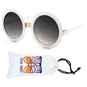 V3052-VP Style Vault Crazy Round Oversized Sunglasses (S2183V White-smoked)