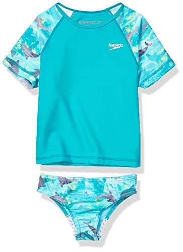 d531451aa6f83 Speedo Girl's Two Piece Swim Set - Short Sleeve Printed Rash Guard. Asin:  B07MFNG2SF. Most Popular Girls Surfing Rash Guards
