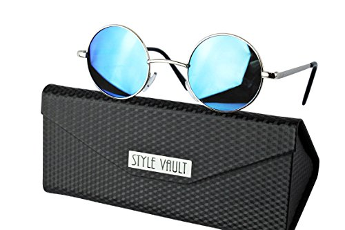 Metal Vault Sunglass Case (Kd36-fc Style Vault Kids (2~9yr) Metal Round Sunglasses w case(S3362V Silver-sky blue mirror))