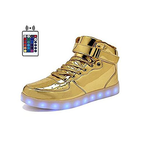 Galleon - High Top Velcro LED Light Up Shoes 7 Colors USB Flashing Charging  Walking Sneakers For Men Women Boots With Remote Control-46(gold) 5c21980c0