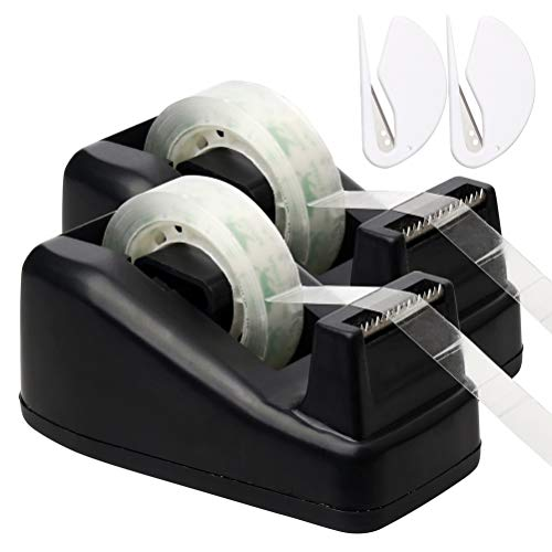 (Color Scissor 2 Pack Desktop Tape Dispenser with 2 Extra Tape Rolls and 2 Letter Openers Perfect for Office, Home, School)