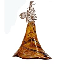 Ornament to hang Bell Glass Bell Jar to Hang Colored Decorative Bell Gold Brown Marbled Christmas Bell with Wavy Edge Mouth Blown Height Approx 10 Cm