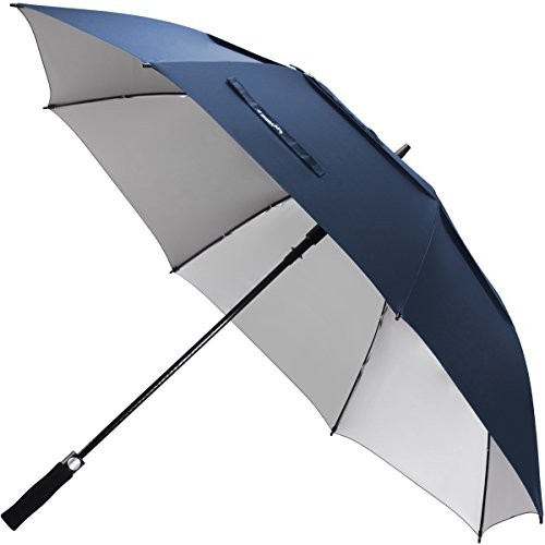 ZEKAR 54/62/68 inch Windproof Large Vented UV Protection and Classic Pongee Fabric Golf Umbrella, Double Canopy Rain and Sun Oversized Stick Umbrellas for Men Women (Best Golf Umbrella For Sun Protection)