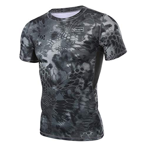 Allywit-Mens Fitness Fast Drying Serpentine Creativity Printing Sports Tight Short Sleeve Tops Blouse Black