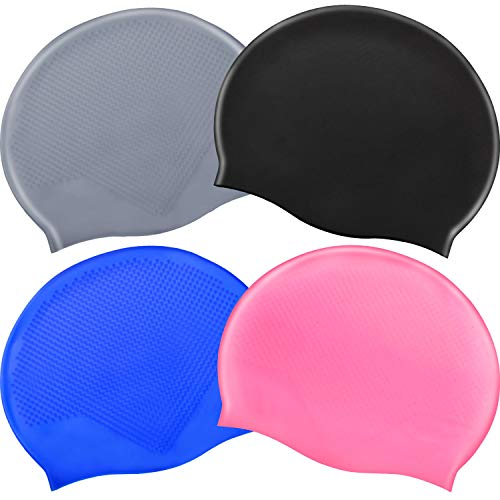SATINIOR 4 Pieces Swim Cap Silicone Swimming Cap Waterproof No-Slip Swimming Hat Long Short Hair Bathing Cap for Woman Men