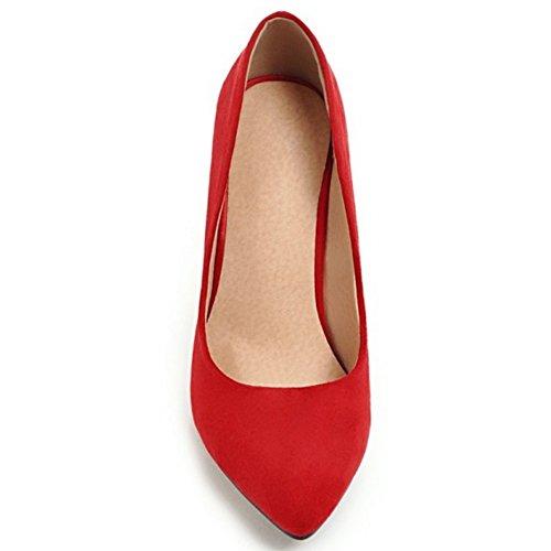 COOLCEPT Damen ohne Verschluss Stiletto Schuhe Red-10CM