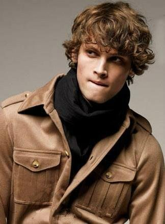 Dress Like A Celebrity Costume Party (Wigs mixed style men's short Brown curly hair color wigs synthetic high temperature wire men's hair)