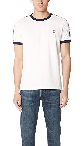 Fred Perry Men's Tape Ringer Tee, Snow White, Small