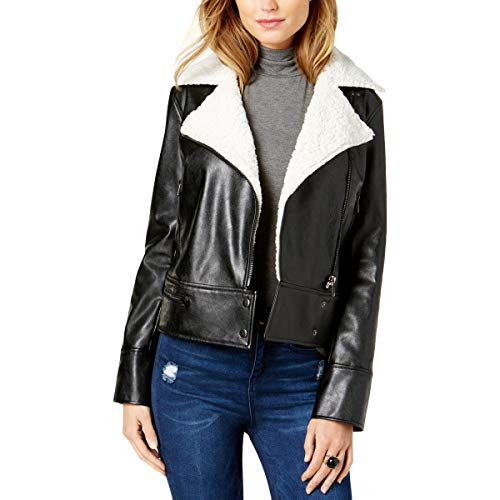 Guess Womens Winter Faux Shearling Moto Coat Black ()