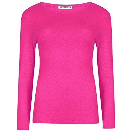 Janisramone damas manga larga Plain Top mujer Basic cuello redondo camiseta Fuschia