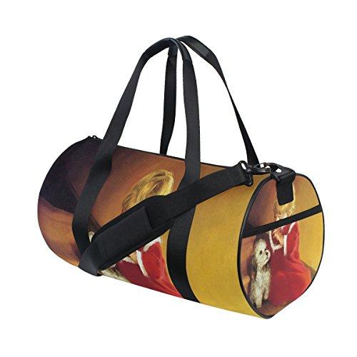 Anime Cartoon Girl Dog Orange Lightweight Canvas Sports Bag Duffel Yoga Gym Bags by JIUMEI