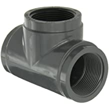 GF Piping Systems PVC Pipe Fitting, Tee, Schedule 80, Gray, NPT Female
