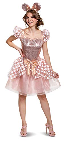 Minnie Mouse Halloween Costume For Adults (Disguise Women's Rose Gold Minnie Deluxe Adult Costume, L)