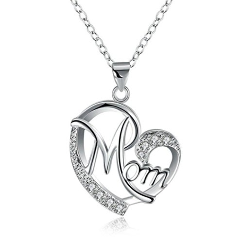 Mom Necklaces,Hemlock Mother Love Heart Pendant Necklaces Diamond Crystal Necklaces Jewelry (Silver)