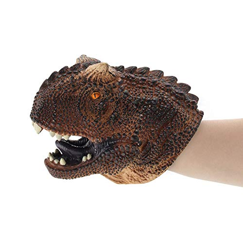 Wenini Dinosaur Head Gloves Soft Toy, Dinosaur Puppets, Role Play Realistic Tyrannosaurus Rex Head Gloves Soft Toy (B -Carnotaurus ❤️)
