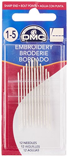 DMC 1765-1/5 Embroidery Hand Needles, 12-Pack, Size 1-5