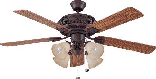 Craftmade GD52ABZ5C Downrod Mount, 5 Dark Oak/Mahogany Blades Ceiling fan with 62 watts light, Aged Bronze