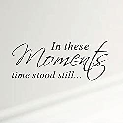 In These Moments Time Stood Still Home Wall Decal Sticker Family Quote Art #1292 (28 Wide X 11.5 High) (Matte Black)