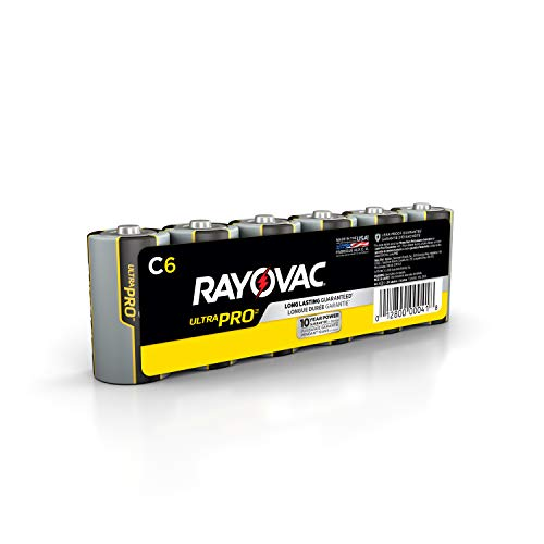 Price comparison product image Rayovac C Batteries,  Ultra Pro Alkaline C Cell Batteries (6 Battery Count)