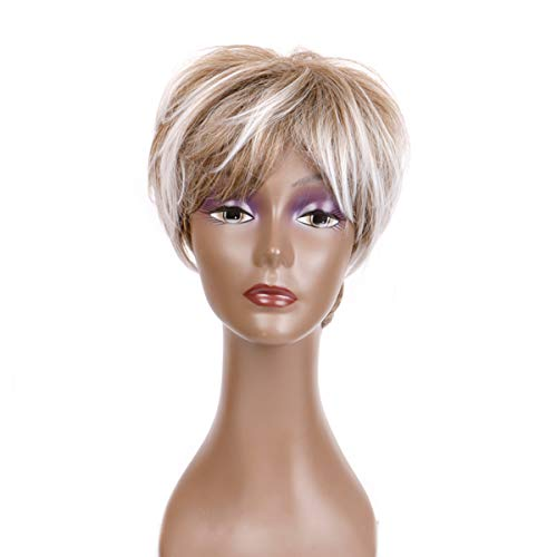 Creamily Women Short Curly Layered Wigs Brown Mixed Blonde Synthetic Pixie Cut Hair with Bangs Natural Heat Resistant Full Bob Wig with -