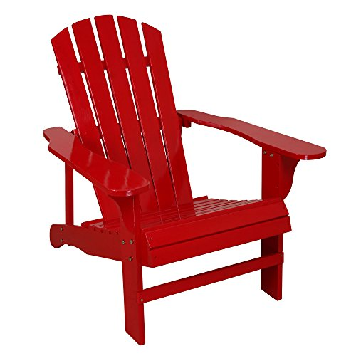 C Living Fashion Outdoor Wood Adirondack Chairs / Muskoka Chair Patio Deck Garden Furniture (Chair,Red) by C_Living