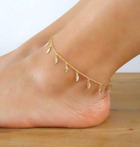 Anklet Designer Gold (Handmade Designer Dainty Layering Gold Leaf Charms Anklet)