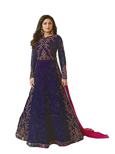 Kameez Indian Suit - ziya Designer Ready Made Indian Fashion Anarkali Salwar Kameez Party Wear LT NITYA2 (Blue, M-40)