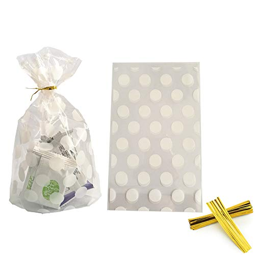 100 Pack Clear Cello Bags with Candy Cookie Bags 4.5 x 6.5 x 2inch Clear Plastic Treat Bags White Polka Dot Candy Bags for Cookie Candy Snack Wrapping Party Favor with Gold Twist Ties