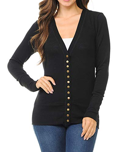 Women's Snap Button Sweater Cardigan with Ribbed - Single Snap Black