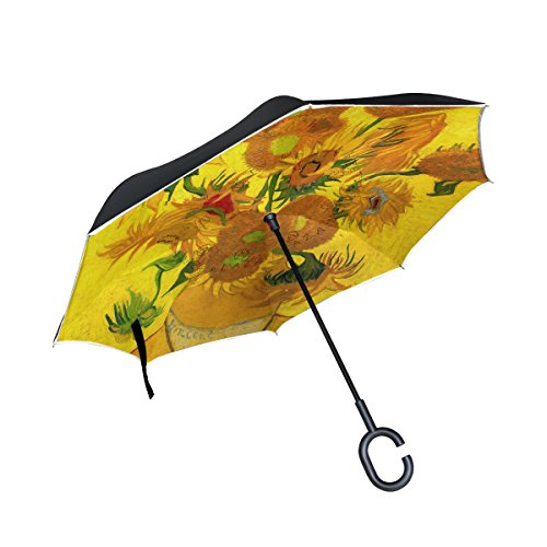 Glass Reverse Painting Patterns (My Daily Double Layer Inverted Umbrella Cars Reverse Umbrella Sunflowers Van Gogh Oil Painting Windproof UV Proof Travel Outdoor Umbrella)