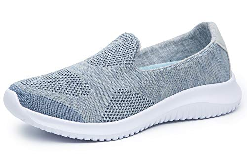 Women's Slip-On Shoes Casual Mesh Walking Sneakers Comfortable Shoes (9, Blue) (Best Womens Walking Sneakers)