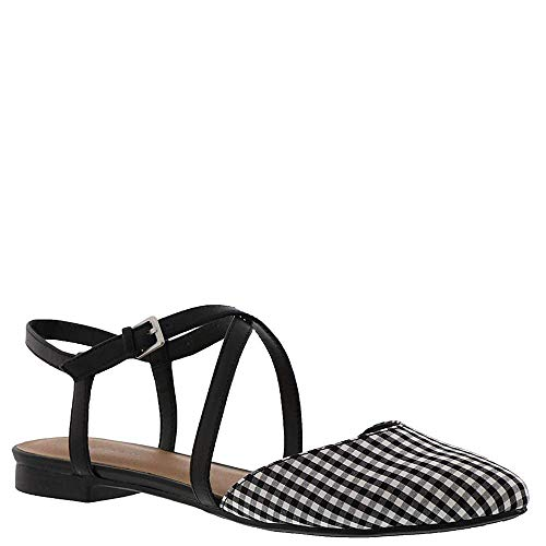 (Indigo Rd. Womens Genetic3 Fabric Pointed Toe Slingback, Black Gingham, Size)