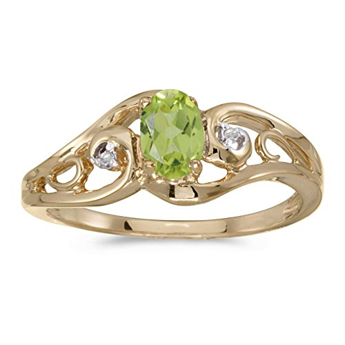 0.40 Carat (ctw) 10k Yellow Gold Oval Green Peridot and Diamond Accent Swirl Filigree Bypass Fashion Promise Ring (6 x 4 MM) - Size 7.5