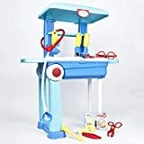 TekBox Kids Toy Doctor Trolley Play Set - Childrens Medical Nurse Case on Wheels with 13 Pieces for Role Playing