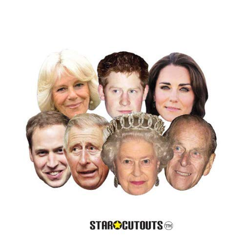 (Star Cutouts SMP1 Royal Family-Seven Pack Assorted (Queen, Phillip, William, Harry, Kate, Charles & Camilla) Mask, One)