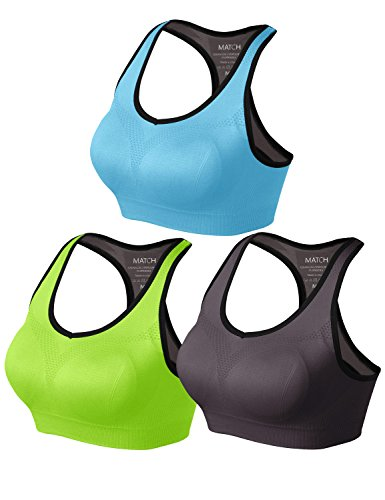 Match Women Wirefree Padded Racerback Sports Bra for Yoga Workout Gym Activewear #001(1 Pack of 3(Bright Green-Gray Brown-Sky Blue),XL)