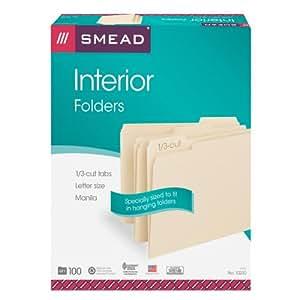 Smead Interior File Folder, 1/3-Cut Tab, Letter Size,  Manila , 100 per Box (10230)