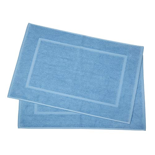 Casa Lino 2 Pack Luxurious Bath Mat Set 100% Ringspun Cotton 20x30 inch Heavy Weight 1000 Grams 2 Ply Construction Highly Absorbent Easy Care Machine Wash-Diana Collection (Electric Blue)