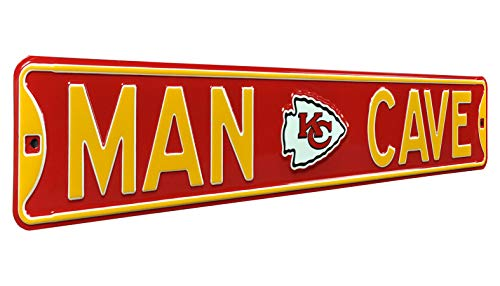 Fremont Die NFL,  MAN CAVE, Officially Licensed, REAL 3 Foot, Premium Grade Solid Steel Embossed STREET SIGN- Prime Wall Decor for Home, Office, Garage- Perfect Gift for Him!!
