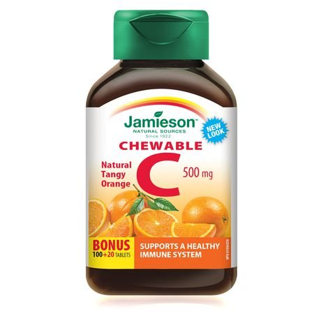 Jamieson Vitamin C Chewable 500 mg - Tangy Orange, 120 tabs Bonus