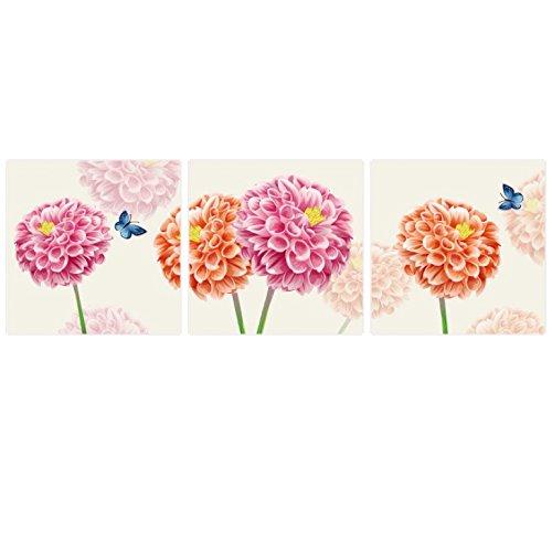 壁掛け アートパネル 【AP016 フラワーブーケ 30×30㎝×3パネルセット】薄型9㎜キャンバス 印刷布製 キャンバスアート 壁飾り B07DCPZVC1 10848 9mm薄型キャンバス|30×30㎝ 30×30㎝ 9mm薄型キャンバス