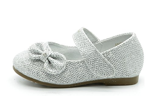 (DREAM PAIRS Angel-5 Adorable Mary Jane Side Bow Buckle Strap Ballerina Flat (Toddler/Little Girl) New Silver-Glitter Size)
