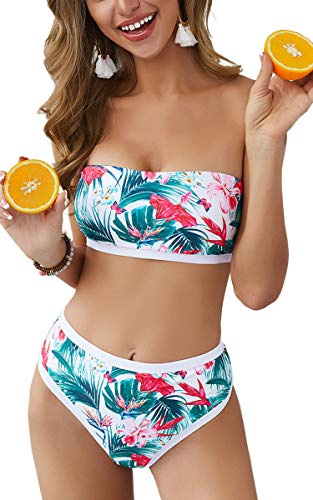 CinShein Women's Off Shoulder Floral Print Bikini Set Color Block Tube Top High Waisted Two Piece Swimsuits White S ()